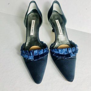 Manolo Blahnik Navy Ruffled Satin Kitten Heel Pump